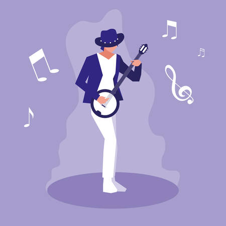 man playing banjo musician character vector illustration design Stok Fotoğraf - 133850105