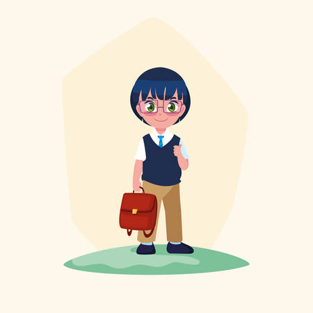 cute little student boy with schoolbag vector illustration design