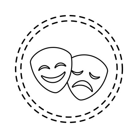 patch of masks theater traditional isolated icon vector illustration design Çizim