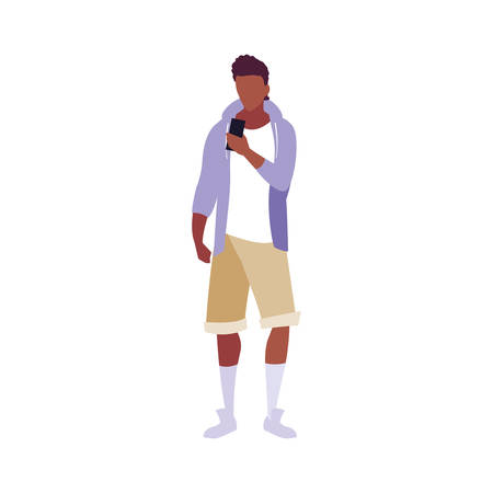 young man using smartphone social media vector illustration Banque d'images - 133850317