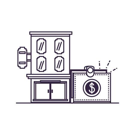 hotel building place with wallet vector illustration design Illusztráció