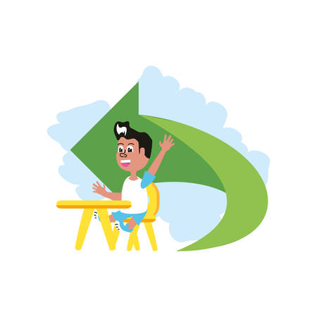 little student boy sitting in school desk with arrow vector illustration design Illustration