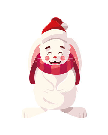 rabbit with hat and scarf in white background vector illustration design