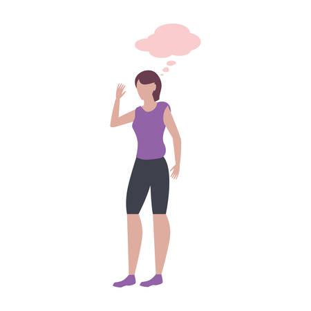 woman female character talk bubble vector illustration Banque d'images - 133850559