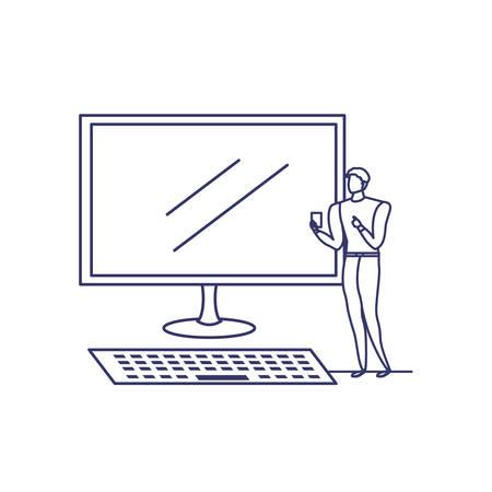 Silhouette d'homme avec écran d'ordinateur en fond blanc vector illustration design