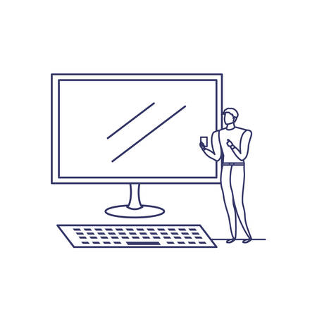 silhouette of man with computer screen in white background vector illustration design