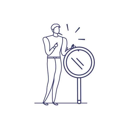 Silueta de hombre en fondo blanco, diseño de ilustraciones vectoriales Ilustración de vector