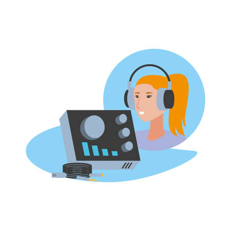 cute young woman with earphones and audio console vector illustration design Çizim