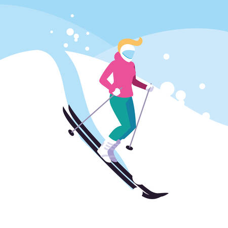 woman practicing ice skiing sport extreme vector illustration design