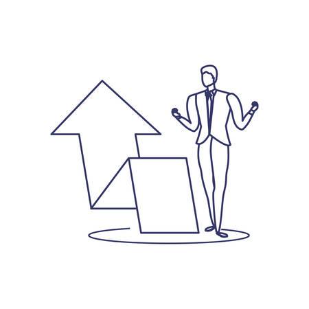 silhouette of man with arrow in white background vector illustration design Ilustração