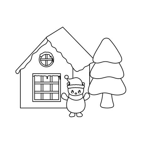 cute polar bear with family house of background vector illustration design