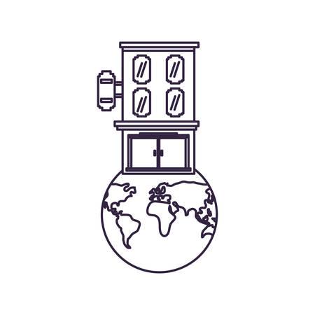 hotel building place in planet earth vector illustration design Illusztráció