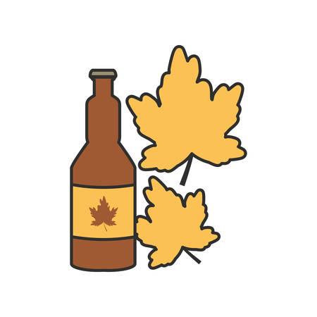 bottle beer and leaf oktoberfest festival icon vector illustration design