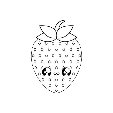 cute fresh strawberry fruit   style vector illustration design