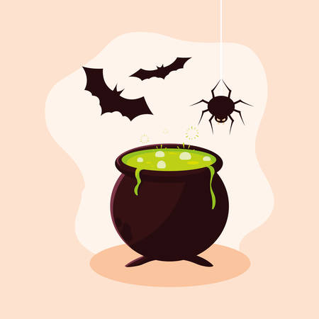 cauldron of halloween with bats flying and spider vector illustration design