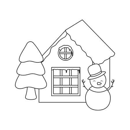snowmanwith house and christmas trees on white background vector illustration design