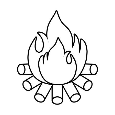 wood campfire flame isolated icon vector illustration design
