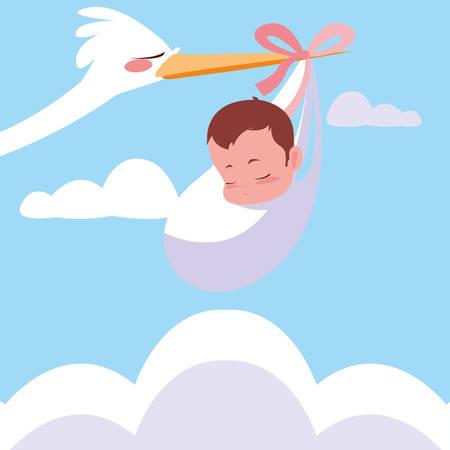 stork flying with baby bag vector illustration design Archivio Fotografico - 133855947