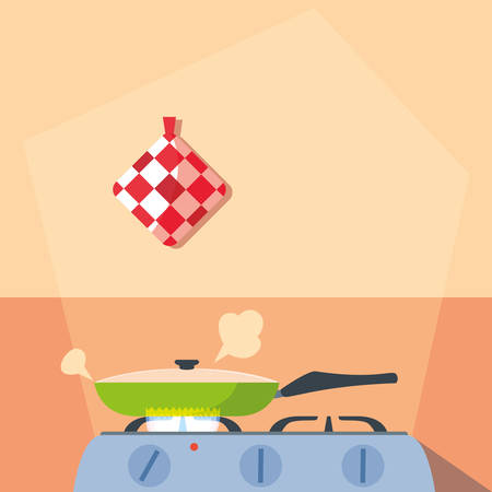 cooking with pan of kitchen in stove vector illustration design