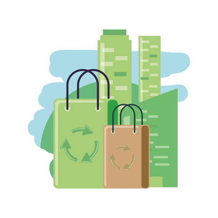 facade building with paper bag eco friendly vector illustration design