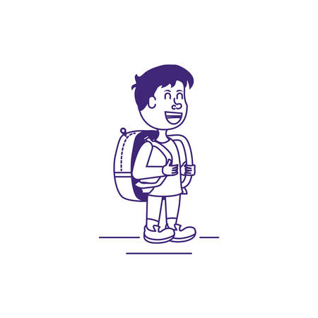 cute little student boy with bag school vector illustration design