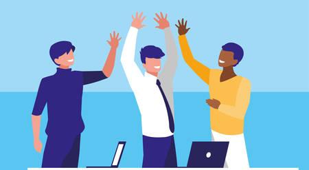 business men elegant in the workplace celebrating vector illustration design
