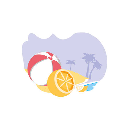 ball plastic toy in the beach with orange vector illustration design