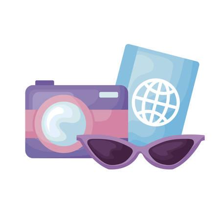 camera with passport and sunglasses vector illustration design Иллюстрация