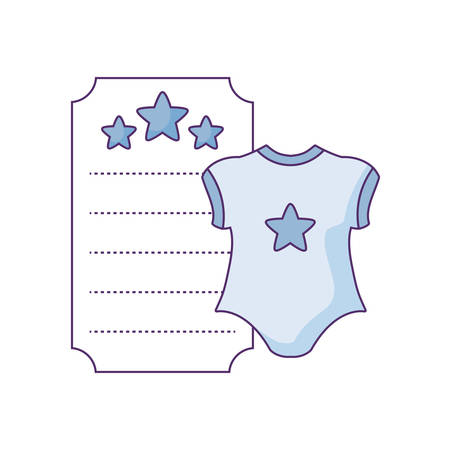 clothes baby in card with stars decoration vector illustration design