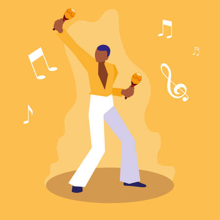 man playing maracas musician character vector illustration design