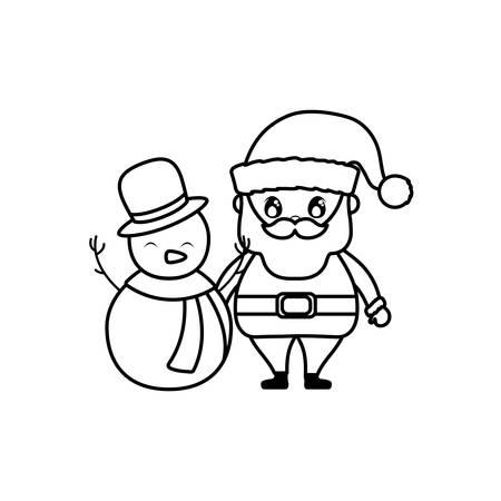 santa claus with snowman on white background vector illustration design Ilustração