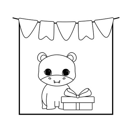 cute hippopotamus with gift box and garlands vector illustration design