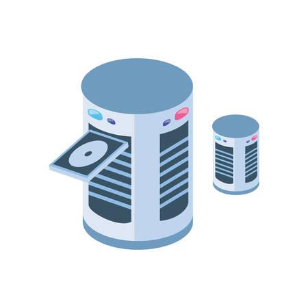 server equipment on white background vector illustration design Vektorgrafik