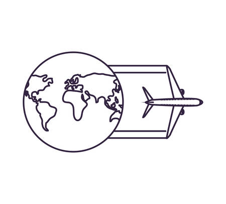 airplane flying with world planet vector illustration design