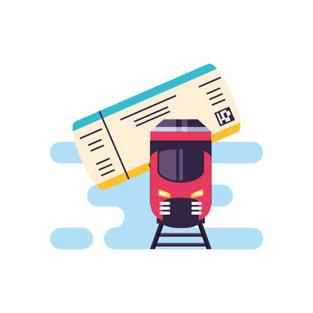 train travel vehicle with ticket paper vector illustration design