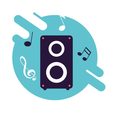 baffle audio with notes music vector illustration design
