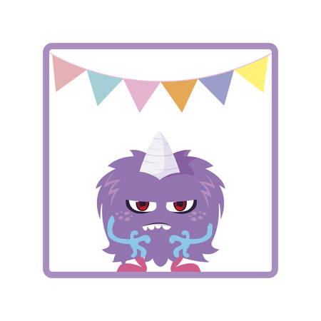 square frame with monster and horn party garlands vector illustration design
