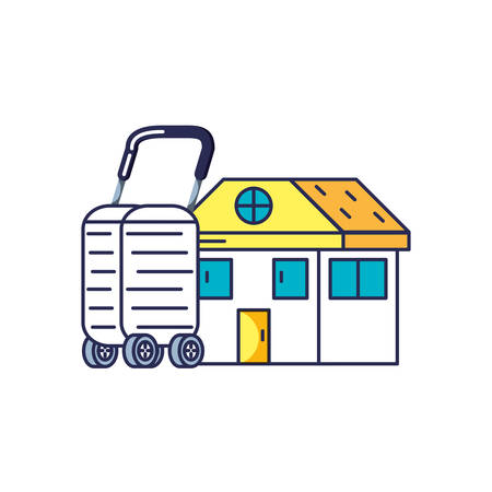 house facade and suitcase with wheels vector illustration design 일러스트