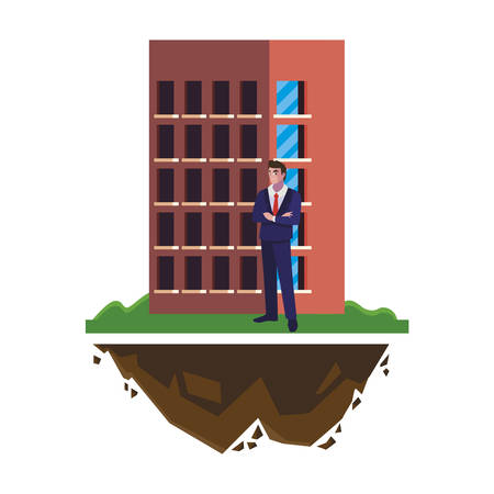 male engineer worker with building vector illustration design