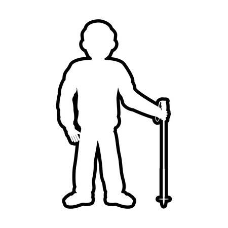 silhouette man skiing icon vector illustration design