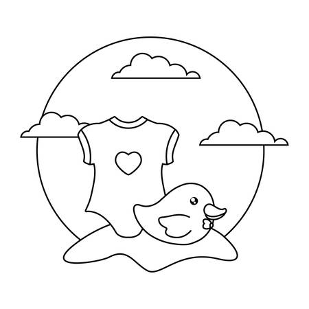 clothes baby for girl with duck plastic toy in landscape vector illustration design
