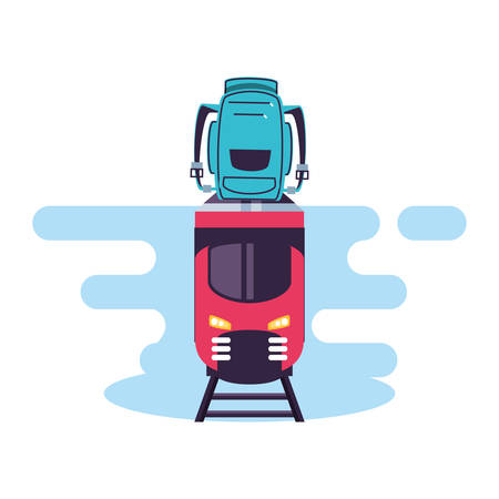 train travel vehicle with travelbag vector illustration design Фото со стока - 133641349
