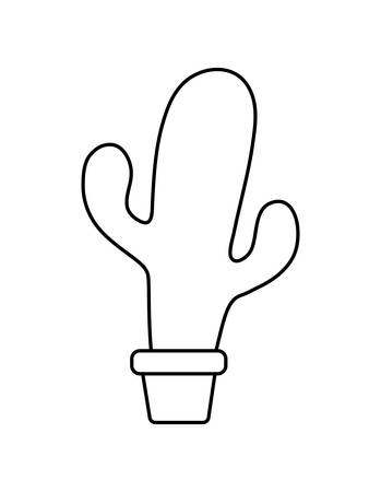 cute cactus with pot in white background vector illustration design