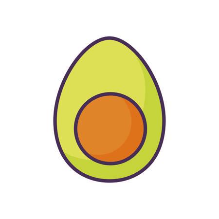fresh avocado healthy on white background vector illustration design Ilustração