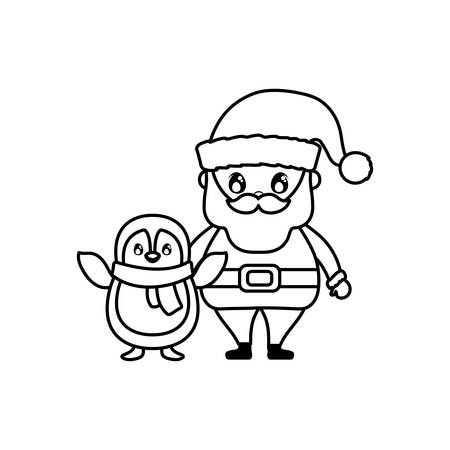santa claus with penguin on white background vector illustration design