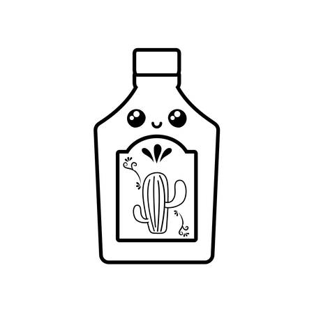 tequila bottle, traditional Mexican drink in white background vector illustration design