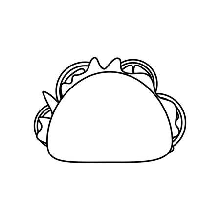 delicious taco , typical Mexican food vector illustration design