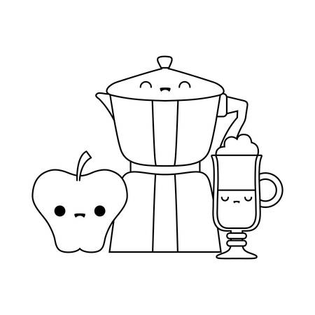 teapot with drink and apple style vector illustration design