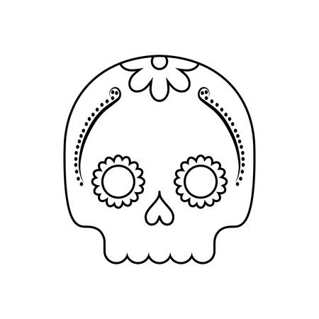mexican skull in white background vector illustration design Stock Illustratie