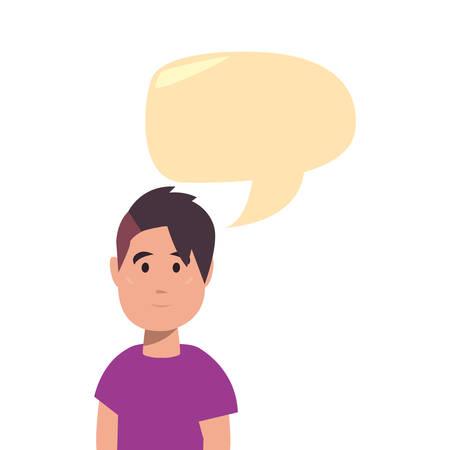 boy talk bubble back to school flat design vector illustration